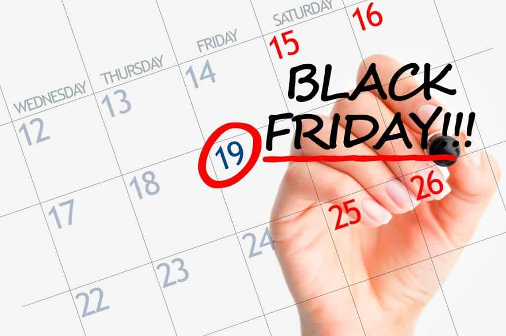 Black Friday sales highlighted on calendar