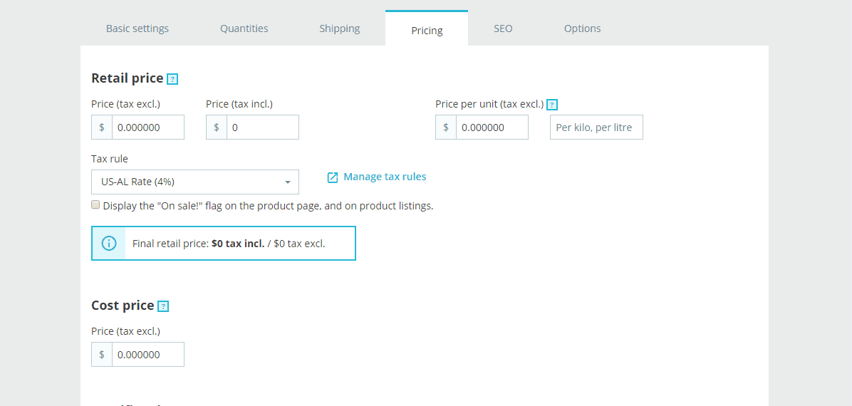 Pricing Tab